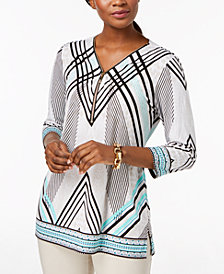 JM Collection Printed Zip-Neck 3/4-Sleeve Top, Created for Macy's