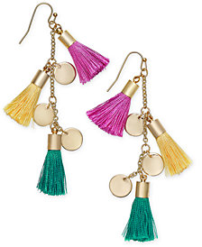 I.N.C. Gold-Tone Tassel and Shaky Disc Drop Earrings, Created for Macy's