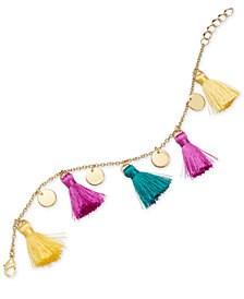 I.N.C. Gold-Tone Tassel & Disc Charm Bracelet, Created for Macy's