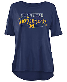 Royce Apparel Inc Women's Michigan Wolverines Hip Script Modal Crew T-Shirt
