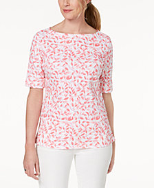 Karen Scott Petite Cotton Boat-Neck Printed Top, Created for Macy's
