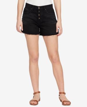 William Rast Cotton Button-Up Denim Shorts