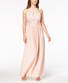 Nightway Lace Keyhole Gown