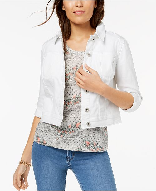 Macy's Bright Jacket Hem for Style Petite Released Created amp; White Denim Cropped Co Spqv4F