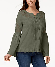 Style & Co Mesh-Inset Peasant Top, Created for Macy's