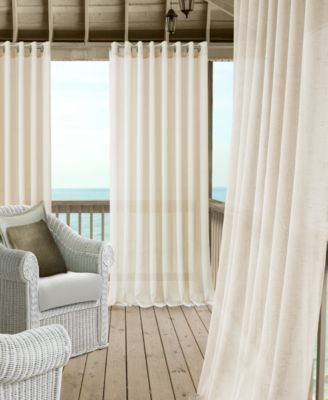 """Carmen Sheer 114"""" x 84"""" Extra-Wide Indoor/Outdoor Grommet Curtain Panel with Tieback"""