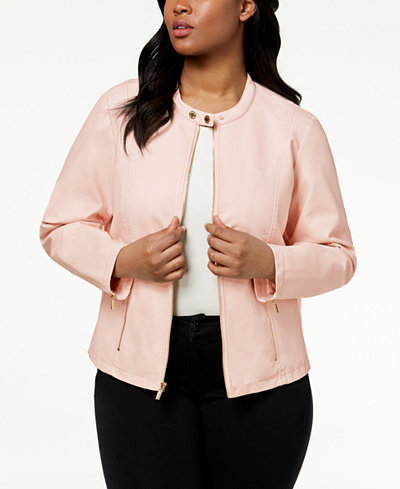 Calvin Klein Plus Size Zipper-Detail Faux-Leather Jacket