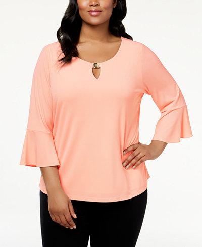 Calvin Klein Plus Size Ruffled-Sleeve Top