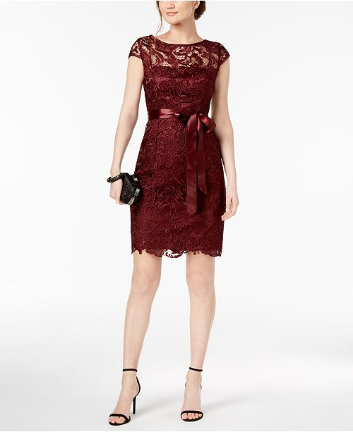 22ac8210a8e Adrianna Papell Lace Cap-Sleeve Illusion Sheath Dress & Reviews ...