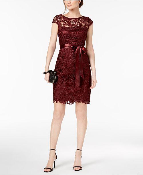 f90429eb Adrianna Papell Lace Cap-Sleeve Illusion Sheath Dress & Reviews ...