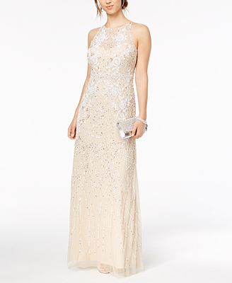 Adrianna Papell Sequined Beaded Illusion Mesh Gown Dresses