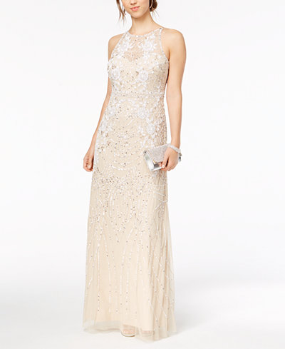 Adrianna Papell Sequined & Beaded Illusion Mesh Gown