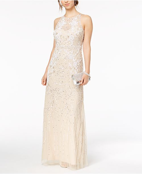 fd74d613e0d Adrianna Papell Sequined   Beaded Illusion Mesh Gown  Adrianna Papell  Sequined   Beaded Illusion Mesh ...