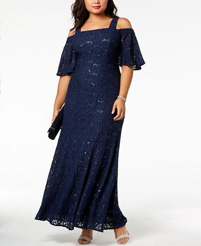 Alex Evenings Plus Size Cold-Shoulder Lace Gown