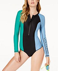 Volcom Colorblocked Long-Sleeve Swimsuit