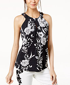 I.N.C. Petite Floral-Print Halter Top, Created for Macy's