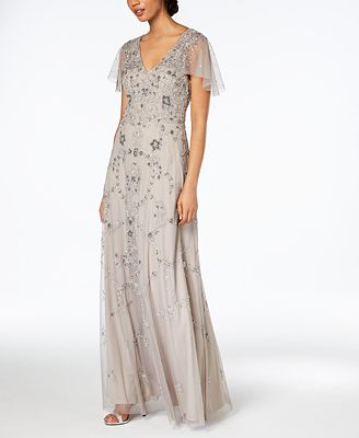 Adrianna Papell Beaded Capelet Gown Dresses Women Macy S