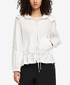 DKNY Cotton Eyelet Drawstring-Waist Jacket