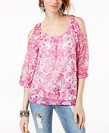 I.N.C. Embellished Cold-Shoulder Blouse, Created for Macy's