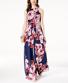 I.N.C. Petite Belted Floral-Print Maxi Dress, Created for Macy's