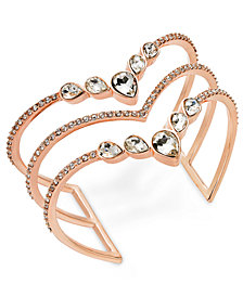 I.N.C. Rose Gold-Tone Crystal Triple-Row Cuff Bracelet, Created for Macy's