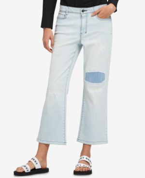 PATCHED KICK-FLARE JEANS