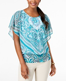 JM Collection Flutter-Sleeve Banded Hem Top, Created for Macy's