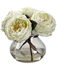 Fancy White Rose Arrangement with Vase