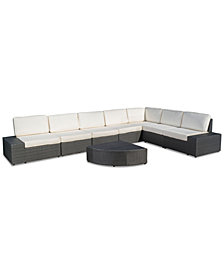 Del Cruz Outdoor 8-Pc. Sectional Set, Quick Ship