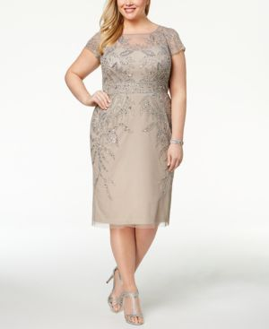 Adrianna Papell Plus Size Beaded A-Line Dress 6053449