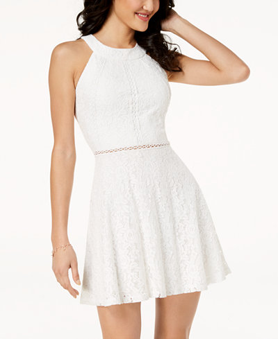 Crystal Doll Juniors' Lace A-Line Dress