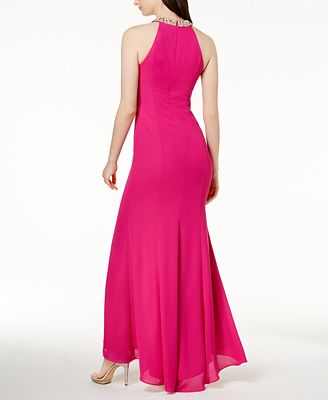 Calvin Klein Draped Chiffon Halter Gown Dresses Women Macys