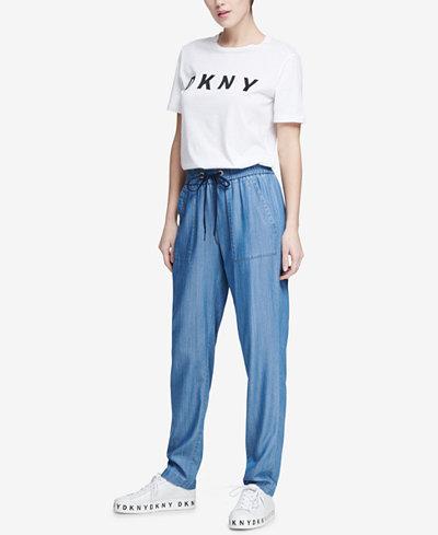 DKNY Drawstring Chambray Pants, Created for Macy's