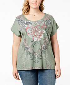Style & Co Plus Size Graphic Step-Hem T-Shirt, Created for Macy's