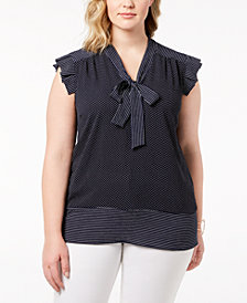 Monteau Trendy Plus Size Mixed-Print Tie-Neck Blouse