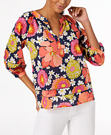 Trina Turk Cotton Floral-Print Peasant Top