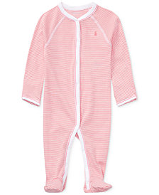 Ralph Lauren Striped Cotton Coverall, Baby Girls