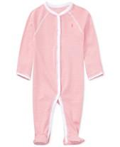 104813c895b9 Ralph Lauren Baby Girls Striped Cotton Coverall
