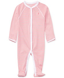 Ralph Lauren Baby Girls Striped Cotton Coverall