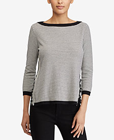 Lauren Ralph Lauren Petite Ruffled Striped Sweater
