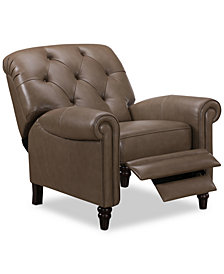 Martha Stewart Collection Bradyn Leather Pushback Recliner, Created for Macy's