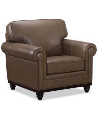 """Bradyn Leather 40"""" Armchair,  Created for Macy's"""