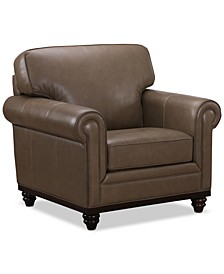 """CLOSEOUT! Bradyn Leather 40"""" Armchair,  Created for Macy's"""