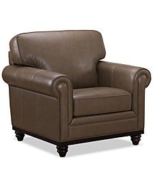 "Martha Stewart Collection Bradyn Leather 40"" Armchair,  Created for Macy's"