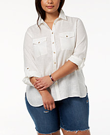 Tommy Hilfiger Plus Size Linen Button-Front Shirt, Created for Macy's