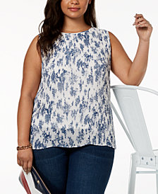 Tommy Hilfiger Plus Size Pleated Printed Split-Back Top, Created for Macy's