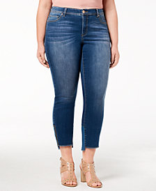 I.N.C. Plus Size Skinny Step-Hem Jeans, Created for Macy's