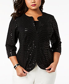 Alex Evenings Plus Size Sequined Jacket & Shell