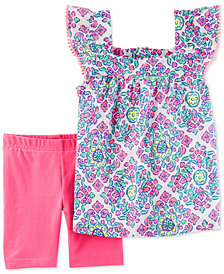 Carter's 2-Pc. Printed Cotton Top & Tumbling Shorts Set, Toddler Girls