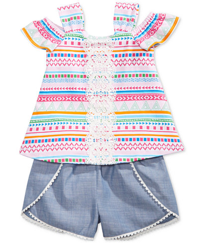 Bonnie Baby 2-Pc. Striped Top & Chambray Shorts Set, Baby Girls
